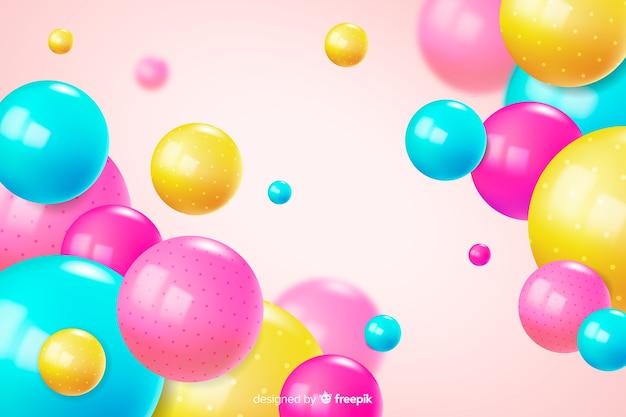 Fundo colorido realista fluindo bolas brilhantes