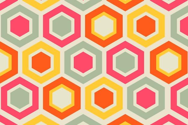 Fundo colorido retrô, vetor de forma geométrica de hexágono