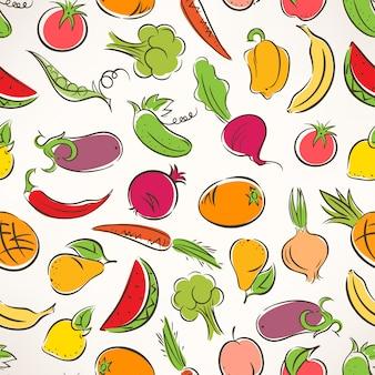 Fundo colorido sem costura fofo com frutas e vegetais estilizados