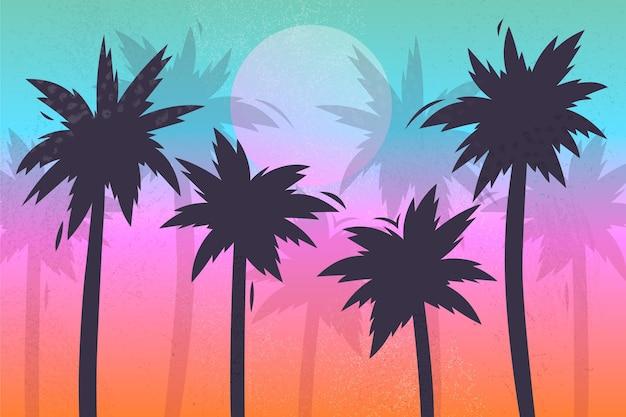 Fundo colorido silhuetas de palmeiras