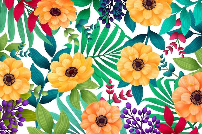 Fundo colorido tropical de verão com folhas de palmeira exóticas e flores de hibisco