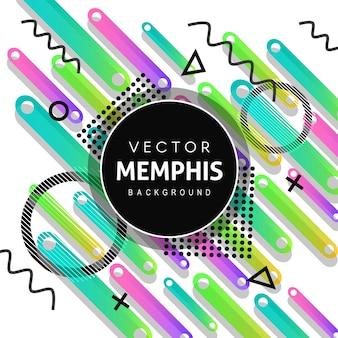 Fundo colorido vector memphis