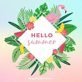 Fundo colorido verão com folhas e flamingo