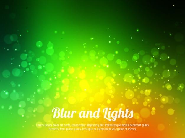 Fundo colorido verde abstrato do bokeh. fundo festivo com luzes desfocados. fundo mágico com bokeh colorido. Vetor Premium