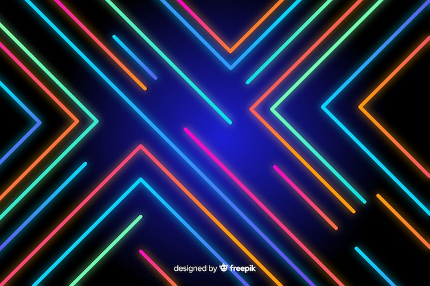 Fundo, com, abstratos, néon, formas