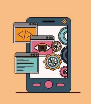 Fundo com aplicativos de ferramentas no smartphone