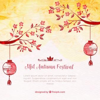 Fundo com aquarelas, festival de meados de outono