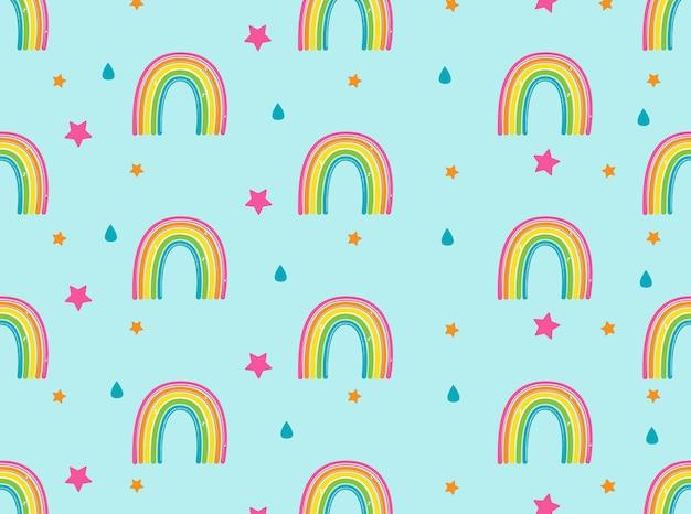 Fundo com arco-íris, estrelas e gotas de chuva