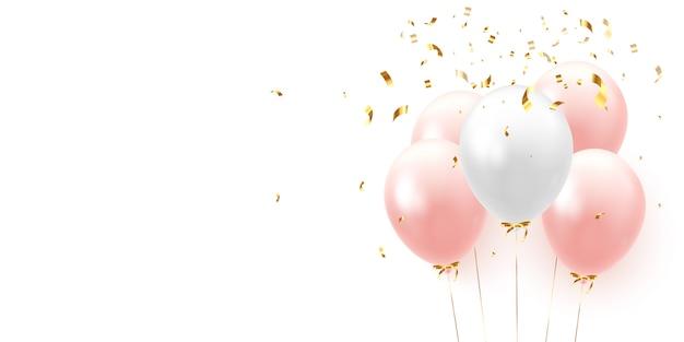 Fundo com balões realistas festivos com fita.