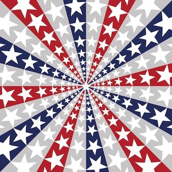 Fundo com bandeira americana sunburst com estrelas e listras, simbolizando 4 de julho, dia da independência