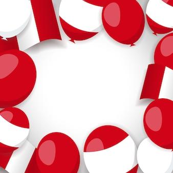 Fundo com bandeira peruana e balões.