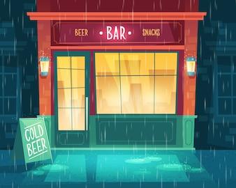 Fundo com bar no mau tempo, chuva. Fachada do edifício com iluminação, tabuleta.