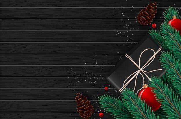 Fundo com beira de ramos de árvore de vista realísticos do natal e de desejos da estação.