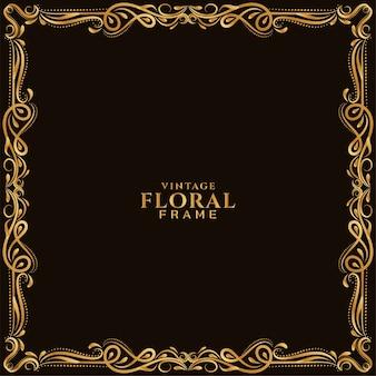 Fundo com bela moldura floral dourada