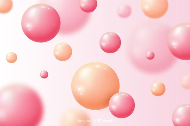 Fundo com bolas brilhantes fluindo realistas
