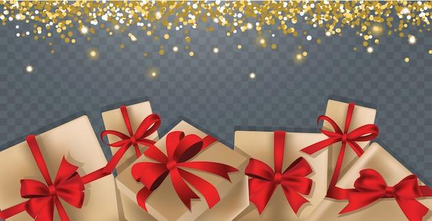 Fundo com caixas de presente e glitter dourados