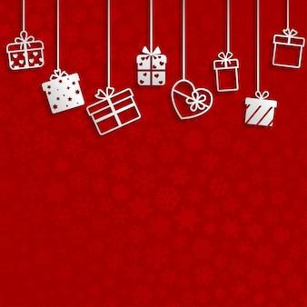 Fundo com caixas de presente penduradas, branco sobre vermelho