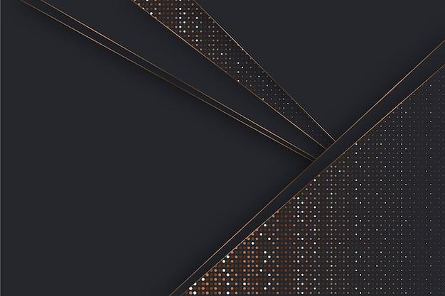 Fundo com camadas de papel escuro e detalhes dourados