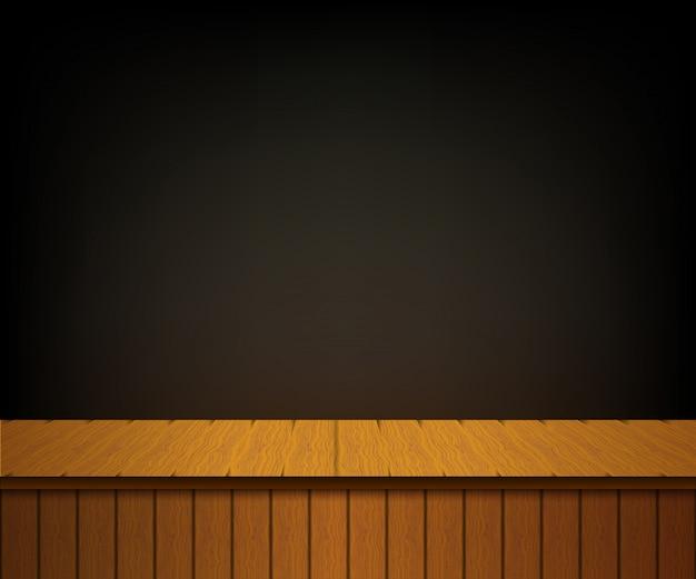 Fundo com cena de teatro de madeira.