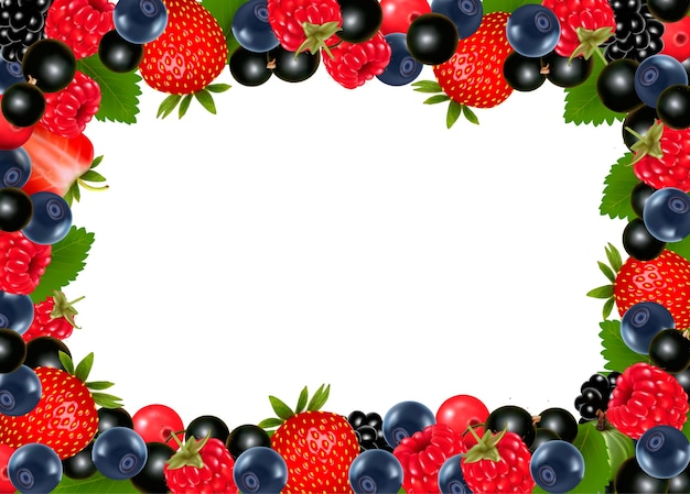 Fundo com cerejas e frutas frescas.