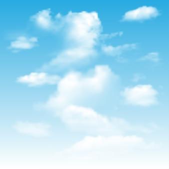 Fundo com céu azul e nuvens.