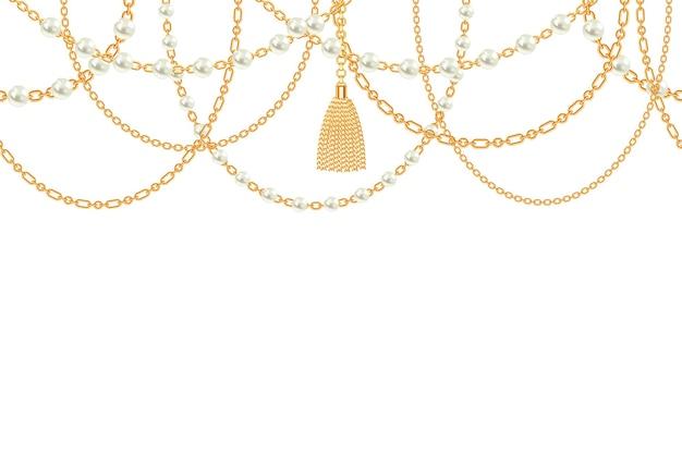 Fundo com colar metálico dourado. borla, pérolas e correntes.