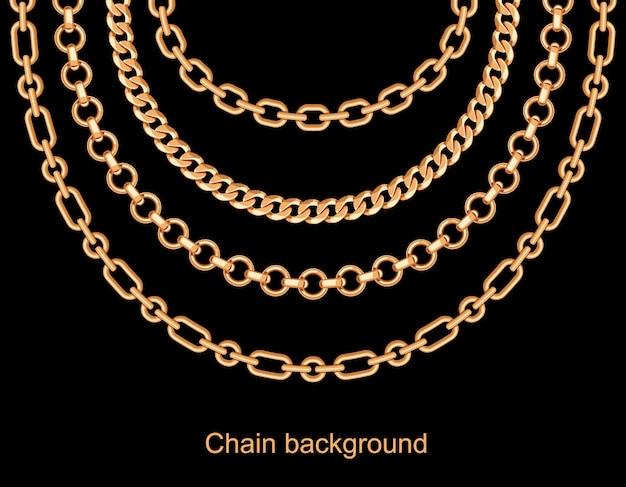 Fundo com colar metálico dourado de correntes