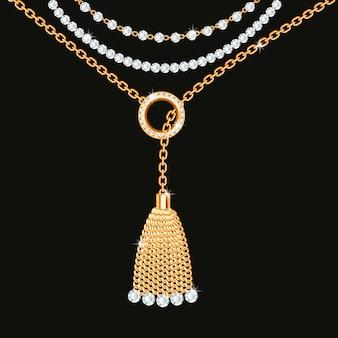 Fundo com colar metálico dourado