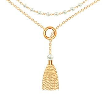 Fundo com colar metálico dourado.