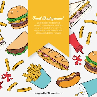 Fundo com comida deliciosa