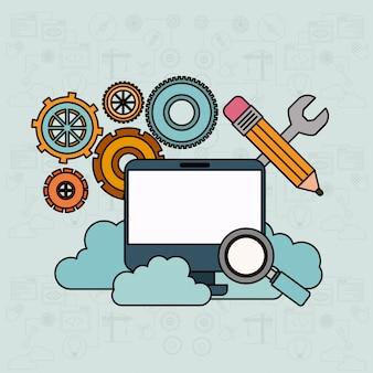 Fundo com computador de mesa e serviço de nuvem de ferramentas de pesquisa