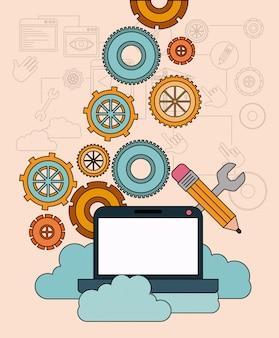 Fundo com computador portátil e serviço de nuvem de armazenamento