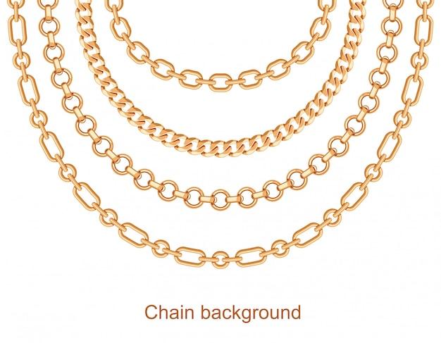 Fundo com correntes colar metálico dourado