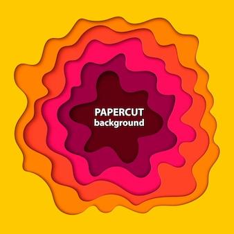 Fundo com corte de papel amarelo, rosa e laranja
