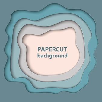 Fundo com corte de papel azul e bege pastel