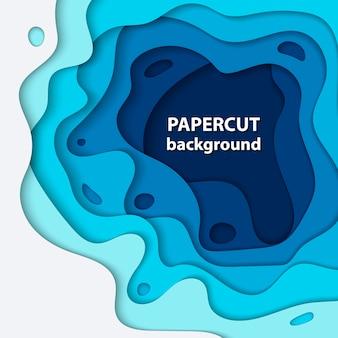 Fundo com corte de papel azul e branco profundo