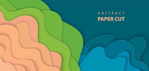 Fundo com corte de papel azul, verde e bege