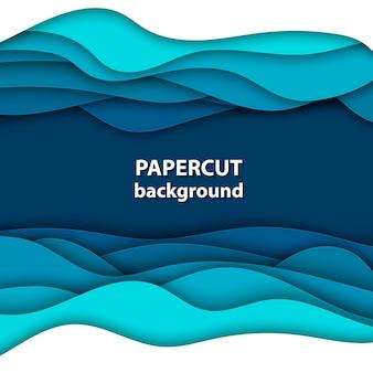 Fundo com corte de papel de cor azul e branco