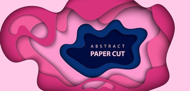 Fundo com corte de papel de cor azul e rosa