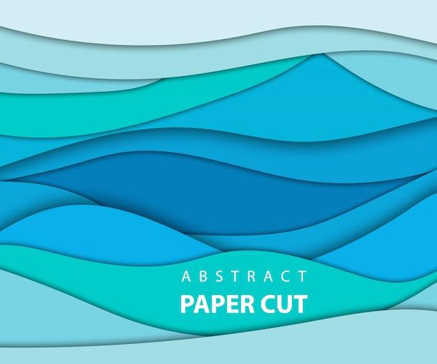 Fundo com corte de papel de cor azul
