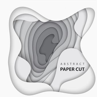 Fundo com corte de papel de cor branca e cinza
