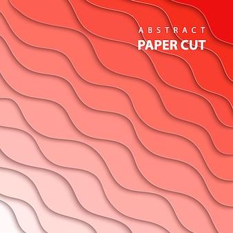 Fundo com corte de papel de cor coral gradiente