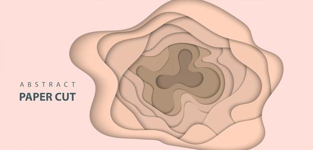 Fundo com corte de papel de cor pastel bege nude