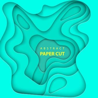 Fundo com corte de papel de cor turquesa clara