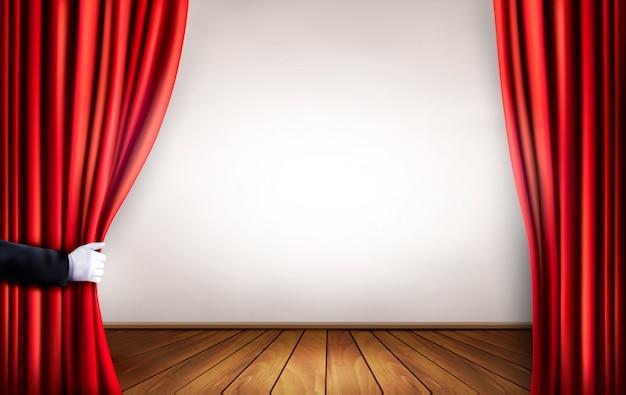 Fundo com cortina de veludo vermelho e mão. ilustração.