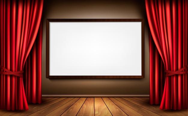 Fundo com cortina de veludo vermelho e piso de madeira.