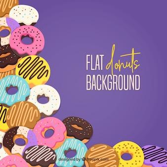 Fundo com deliciosos donuts