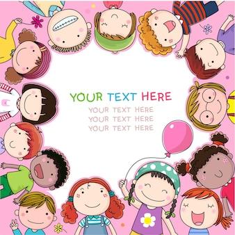 Fundo com desenhos animados bonitos de crianças
