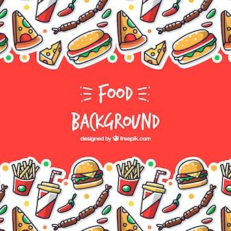 Fundo com diferentes fast food