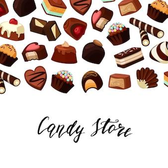 Fundo com doces de chocolate lugar ftext e desenhos animados Vetor Premium